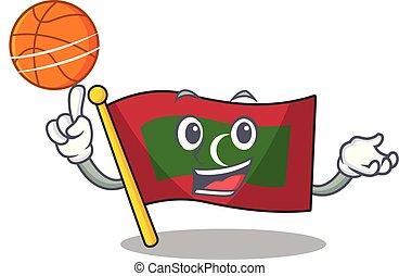 lobogó, betű, birtok, maldívok, karikatúra, kosárlabda