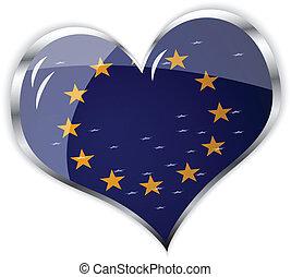lobogó, egyesítés, szív, európai, alakít