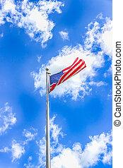 lobogó, elhomályosul, ég blue, fehér, ellen, amerikai