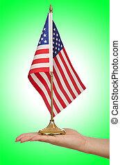 lobogó, fehér, amerikai, hatalom kezezés