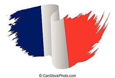 lobogó, francia, vektor, ikon, elszigetelt, franciaország, fehér, szín, jelkép, ábra, design., háttér.
