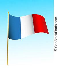 lobogó, -, franciaország, -2