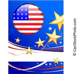 lobogó, gombol, háttér, patrióta, amerikai