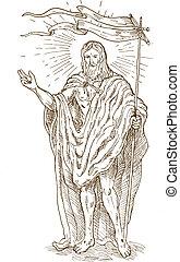 lobogó, jézus, feltámadt, álló, vagy, krisztus, emelkedett