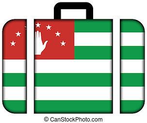 lobogó, közül, abkhazia., bőrönd, ikon, utazás, és, szállítás, fogalom