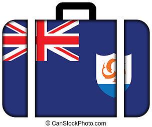 lobogó, közül, anguilla., bőrönd, ikon, utazás, és, szállítás, fogalom
