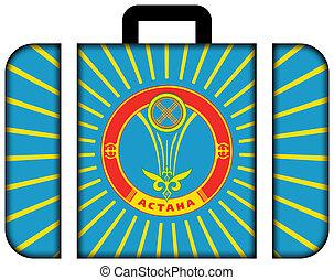 lobogó, közül, astana., bőrönd, ikon, utazás, és, szállítás, fogalom