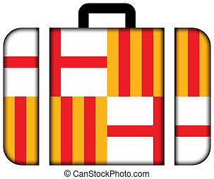 lobogó, közül, barcelona., bőrönd, ikon, utazás, és, szállítás, fogalom