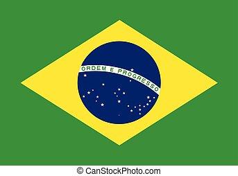 lobogó, közül, brazília, alatt, nemzeti, befest, vector.