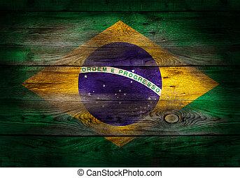 lobogó, közül, brazília, festett, képben látható, grungy, erdő, palánk, háttér