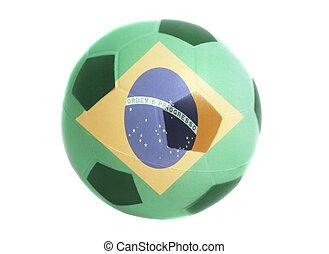 lobogó, közül, brazília, képben látható, focilabda
