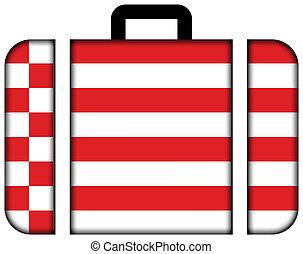 lobogó, közül, bremen., bőrönd, ikon, utazás, és, szállítás, fogalom