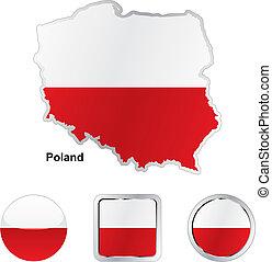 lobogó, közül, lengyelország, alatt, térkép, és, háló, gombok, alakzat
