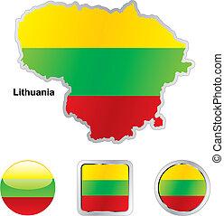 lobogó, közül, litvánia, alatt, térkép, és, háló, gombok, alakzat