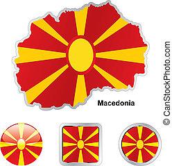 lobogó, közül, macedónia, alatt, térkép, és, háló, gombok, alakzat