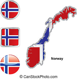 lobogó, közül, norvégia, alatt, térkép, és, háló, gombok, alakzat