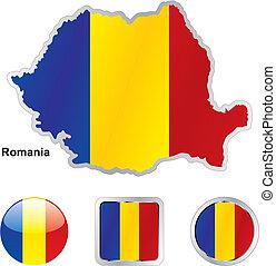 lobogó, közül, románia, alatt, térkép, és, háló, gombok, alakzat