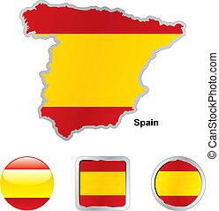 lobogó, közül, spanyolország, alatt, térkép, és, háló, gombok, alakzat