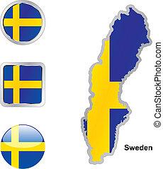 lobogó, közül, svédország, alatt, térkép, és, háló, gombok, alakzat