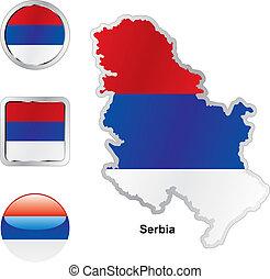 lobogó, közül, szerbia, alatt, térkép, és, háló, gombok, alakzat