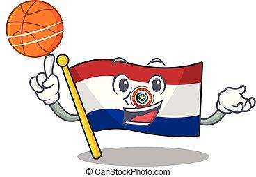 lobogó, kabala, paraguay, kitart kosárlabda, karikatúra