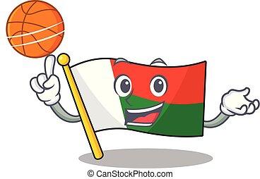 lobogó, madagaszkár, kabala, betű, kitart kosárlabda