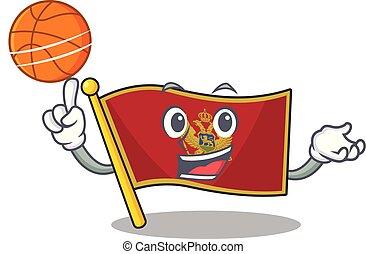 lobogó, montenegro, betű, birtok, karikatúra, kosárlabda, elszigetelt