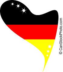 lobogó, németország, alatt, szív