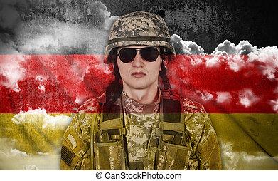 lobogó, németország, katona