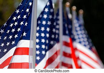 lobogó, nap, amerikai, becsül, öreg, bemutatás