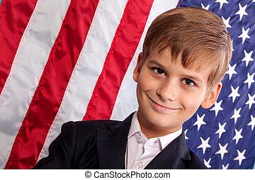 lobogó, portait, fiú, kaukázusi, amerikai