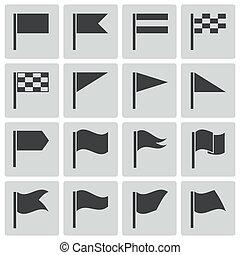 lobogó, vektor, fekete, állhatatos, ikonok