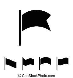 lobogó, vektor, fekete, ikon