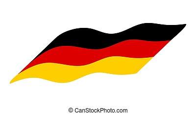 lobogó, vektor, németország, háttér, elszigetelt, fehér, lenget, tervezés, egyszerű