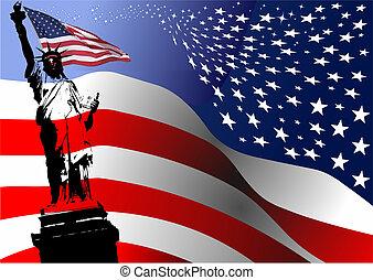 lobogó, vektor, szabadság, szobor, image., amerikai, ábra