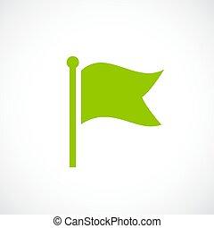 lobogó, vektor, zöld, ikon