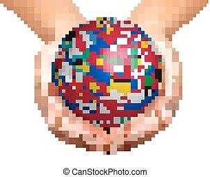 lobogó világ, képben látható, egy, földgolyó, tartott, alatt, hands.