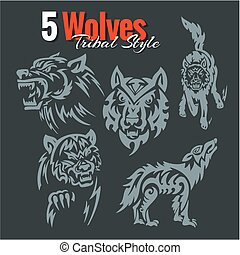 lobos, en, tribal, style., vector, set.