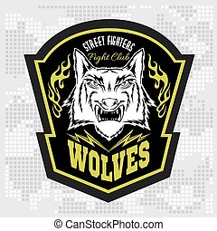 lobos, etiqueta, -, elements., desenho, emblemas, militar