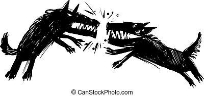 lobos, lucha, ilustración