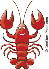 a shiny lobster is smiling to you