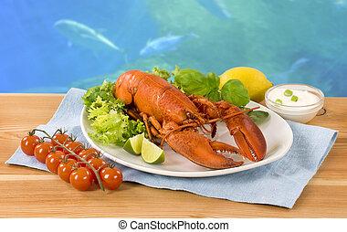 Lobster and vegetable garnish