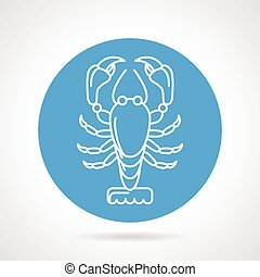 Lobster blue round vector icon