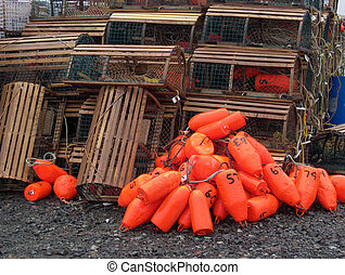 Lobster Bouys - Florescent orange lobster pot bouy's with ...
