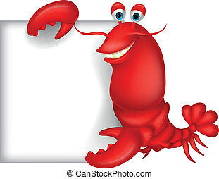 Lobster cartoon with blank sign - Vector illustration of...