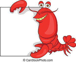 Lobster cartoon with blank sign - Vector illustration of ...