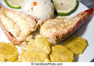 lobster central american style with tostones rice