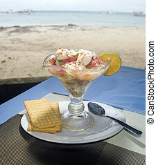 lobster ceviche photographed in Big Corn Island Nicaragua by beach