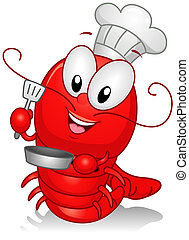 Lobster Chef - Illustration of a Lobster Character Dressed...