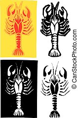 Lobster Crawdad - Woodcut style image of lobster or crayfish...